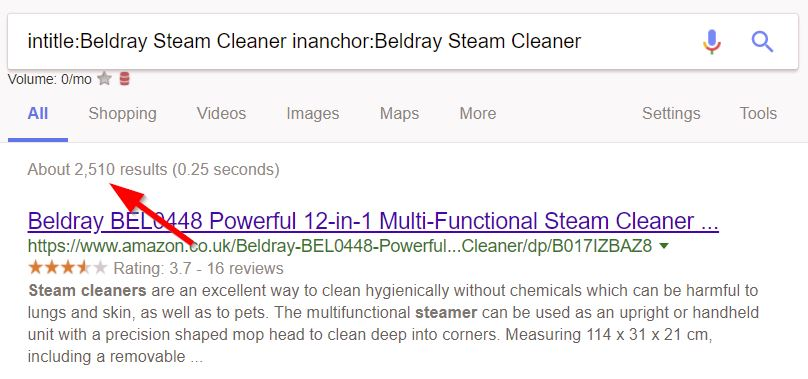 Keyword in anchor and in title search