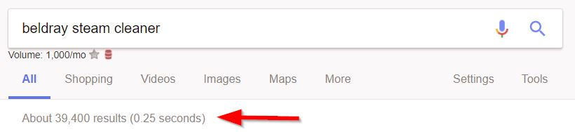 Number of results in Google for the keyword